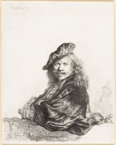 Rembrandt van Rijn, 'Self Portrait Leaning on a Stone Sill', 1639