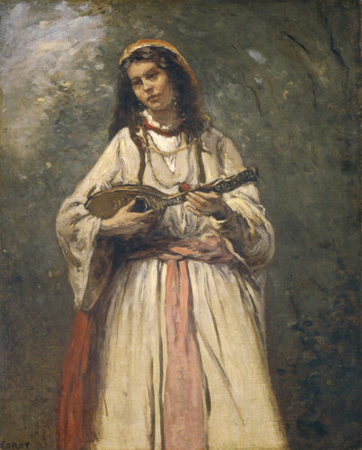 Jean-Baptiste-Camille Corot, 'Gypsy Girl with Mandolin', ca. 1870