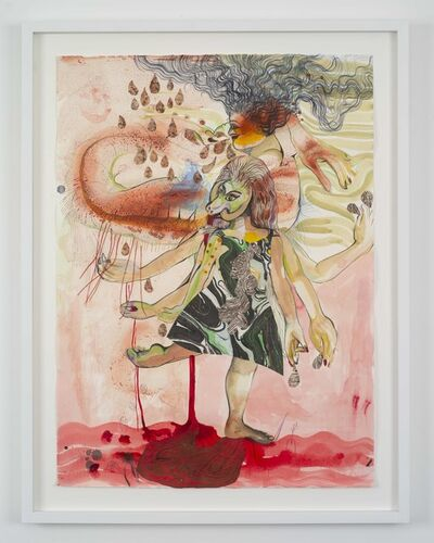 Rina Banerjee, 'Kick back and  without relax pour your bloodline, tribes with tight wives, paint your earth pink and in red to remember molten lava and rains that would stain  she stood tall to them all  open mouth and with no  money hush my honey listen for justice whispers so sunny', 2018