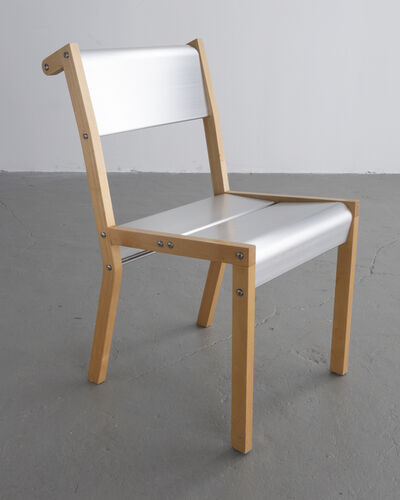 "Ali Tayar, '""Rasamny Chair v. 1"" prototype in anodized extruded aluminum and wood. Designed by Ali Tayar, 1999.', 1999"