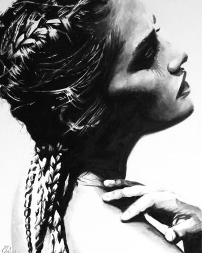 "Cindy Press, '""Remove All Doubt"" black and white oil painting of woman with braids, side view', 2020"