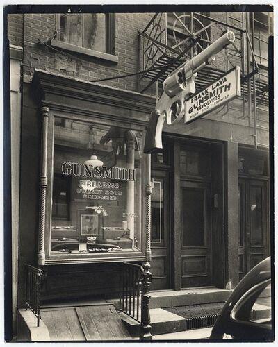 Berenice Abbott, 'Gunsmith. (6 Center Market Place, Manhattan, between Broome and Grand Streets.)', 1937