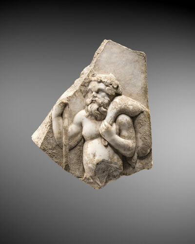 Unknown, 'Marble relief fragment representing Silenos', Roman-2nd century A.D.