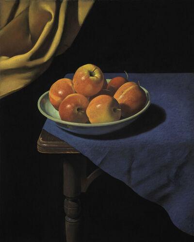 Ron Monsma, 'Apples on a Blue Cloth'