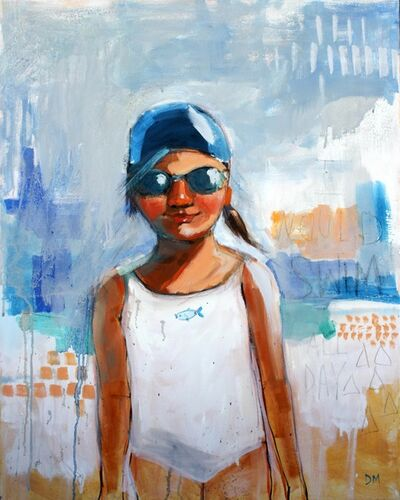 "Debbie Miller, '""Swim All Day"" oil painting of a girl in a white swimsuit and goggles with blue background', 2019"