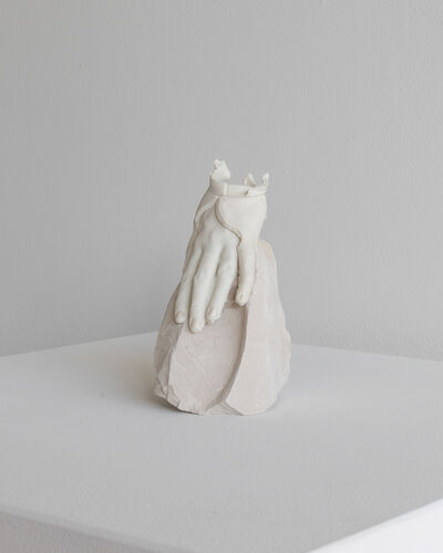 Kylie Lockwood, 'Left hand pieced together resting on clay', 2019