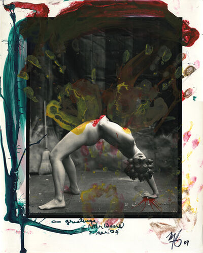 Peter Beard, 'Nude gymnast, masked, overpaimted, plus a Polaroid', 2004
