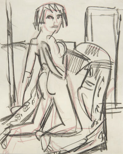 Ernst Ludwig Kirchner, 'Naked Girl on a Canapé', 1924
