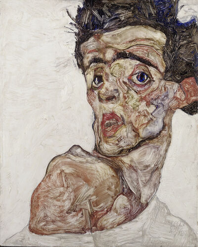 Egon Schiele, 'Self Portrait with Raised Bared Shoulder', 1912