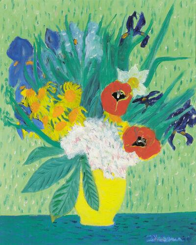 Gerhild Diesner, 'Colourful Flower Bouquet against a Green Background', ca. 1970