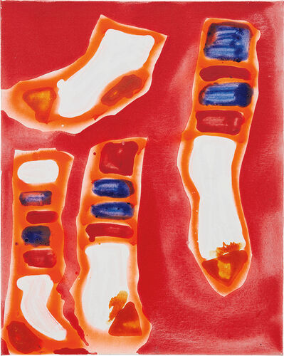 Katherine Bernhardt, '4 Socks on Red', 2014