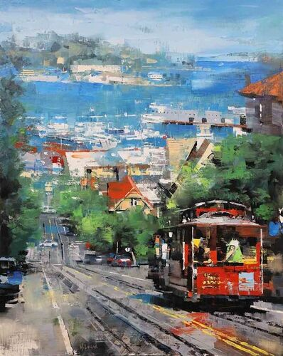 Mark Lague, 'Red Trolly in San Francisco', 2019