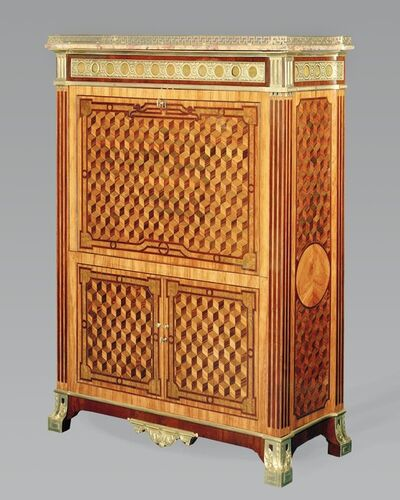 'A very rare Louis XVI marquetry upright secretary with chased, pierced and gilt bronze mounts.'