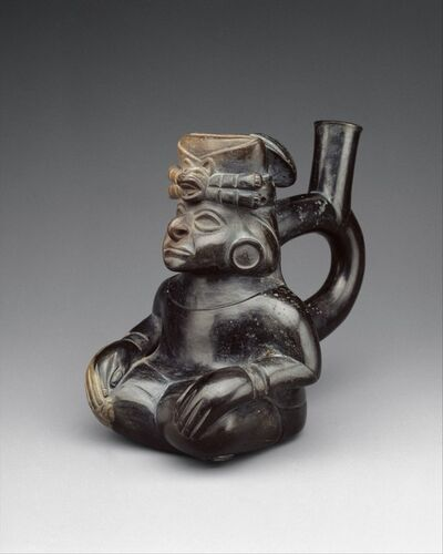 Unknown Moche, 'Seated Figure Bottle', 2nd–5th century
