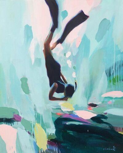 "Elizabeth Lennie, '""Neutral Bouyancy"" oil painting of a woman snorkeling underwater', 2010-Present"