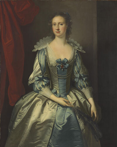 Thomas Hudson, 'Portrait of a lady, possibly Mrs. Fryer, three-quarter-length, holding a feather'