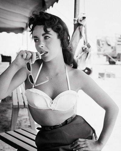 """Frank Worth, 'Elizabeth Taylor with Sunglasses Behind the Scenes of """"Giant""""', 1956"""