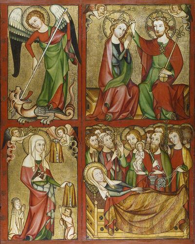 Rhineland Master, 'Altenberg Altar (right wing): St. Michael, Coronation of the Virgin, St. Elizabeth, Death of the Virgin', ca. 1330