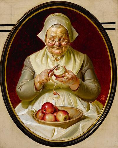 Joseph Christian Leyendecker, 'Thanksgiving Post Cover, Peeling Apples', 1925