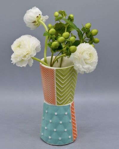 Kelly Justice, '11.Bud Vase with Orange, Turquoise and Chartreuse', 2021