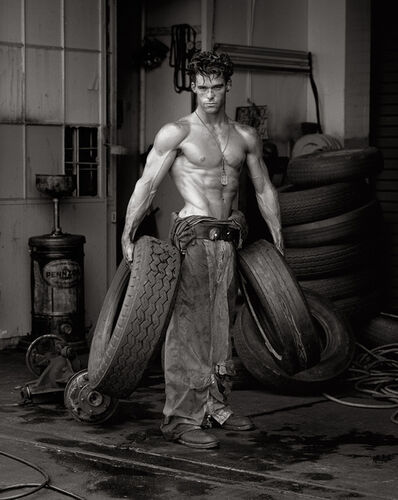 "Herb Ritts, '""Fred with Tires- Bodyshop Series""', 1984"