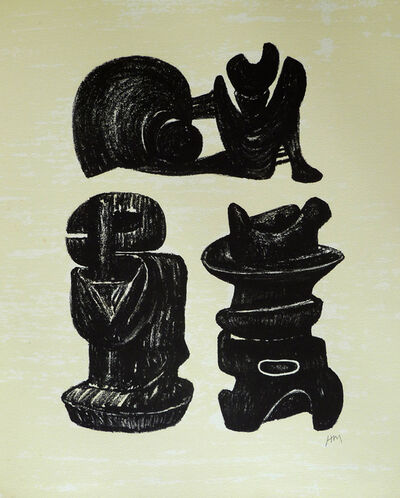 Henry Moore, 'Three Sculptural Forms, from: Poetry | La Poésie', 1973