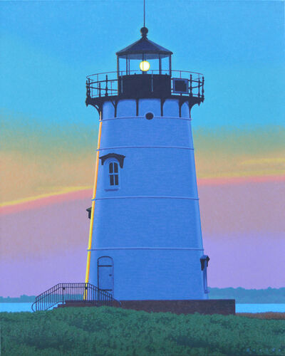 "Rob Brooks, '""Edgartown Light"" photorealistic oil painting of Martha's Vineyard Lighthouse with pink, yellow and blue sky', 2019"