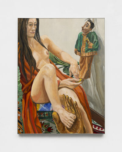 Philip Pearlstein, 'Model in Robe with Burmese Marionette', 2019