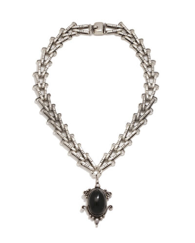 Hector Aguilar, 'A Hector Aguilar silver and onyx necklace', 1943-1948