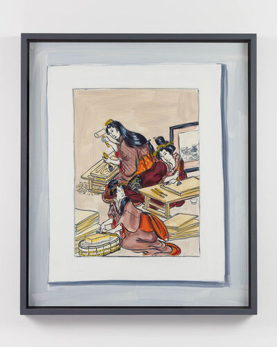 """Lisa Milroy, 'Making (after """"Women engaged in producing colour woodblock prints"""", central sheet of triptych colour woodblock print circa 1803 by Utamaro Kitagawa)', 2020"""