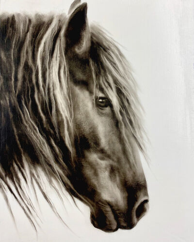 "Kenneth Peloke, ' ""Untitled"" photorealistic black and white oil painting of a horse in profile', 2020"