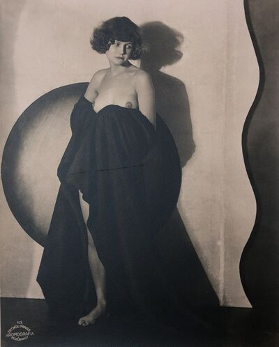 Frantisek Drtikol, 'Draped Nude with circle, Bromografia 109', 1928
