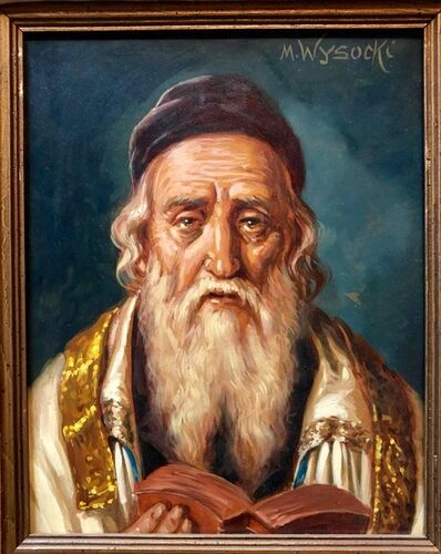 M Wysocki, 'Austrian Judaica Portrait of Hasidic Rabbi Oil Painting', 20th Century