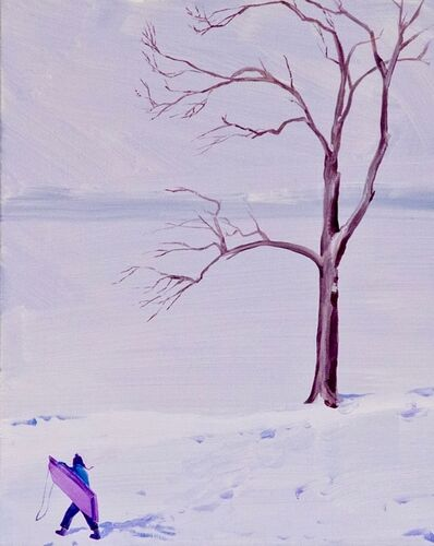 Sebastian Blanck, 'Purple Sled and Lakeside Tree', 2019