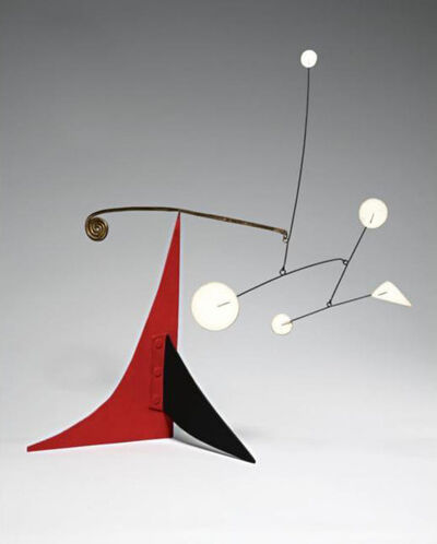 Alexander Calder, 'Untitled (Five White and Brass Spiral on Red and Black)', ca. 1960
