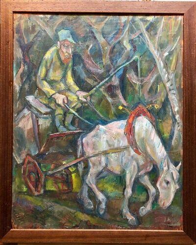 Emanuel Romano, 'Large Modernist Oil Painting 1940s, Judaica Hasidic Shtetl Wagon Driver WPA Era', 1930-1939