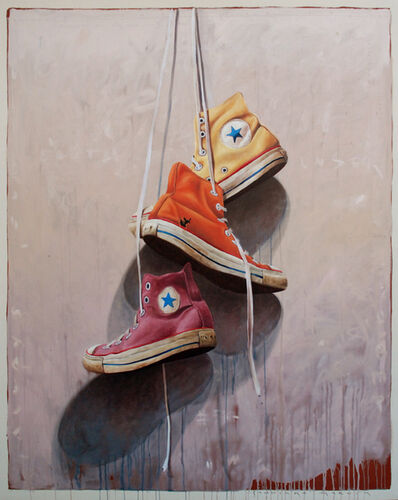 """Santiago Garcia, '""""Converse #1007"""" Old Yellow Orange and Red Chuck Taylors on a Neutral Background', 2010-2018"""