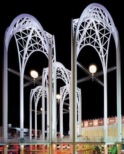 "Jade Doskow, 'Seattle 1962 World's Fair, ""Century 21 Exposition,"" Science Center Arches at Night, View I', 2014"