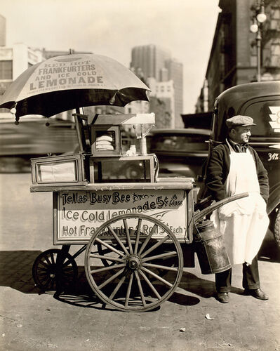 Berenice Abbott, 'Hot Dog Stand, West Street and North Moore Streets, Manhattan', 1936