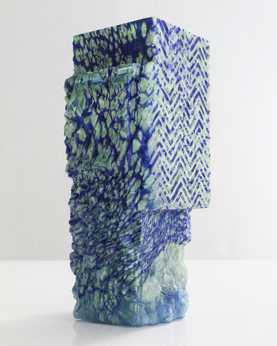 Thaddeus Wolfe, 'Unique blown glass vessel in blue and light aqua', 2015