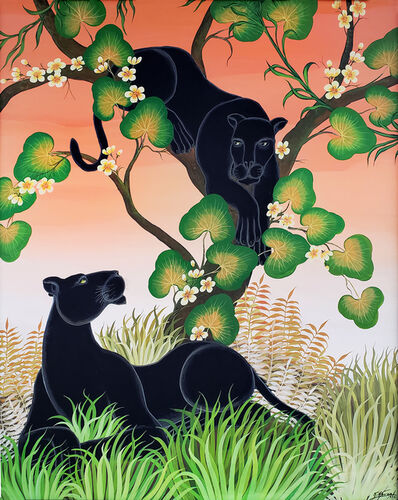 Gustavo Novoa, 'Black Panther in a tree with a peach sky', 1975