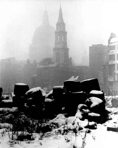 Roger Mayne, 'Snow in London, St. Paul's, After the Bombing in WWII', ca. 1940s