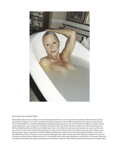 Juergen Teller, 'In der Badewanne mit Helen Mirren', 2010