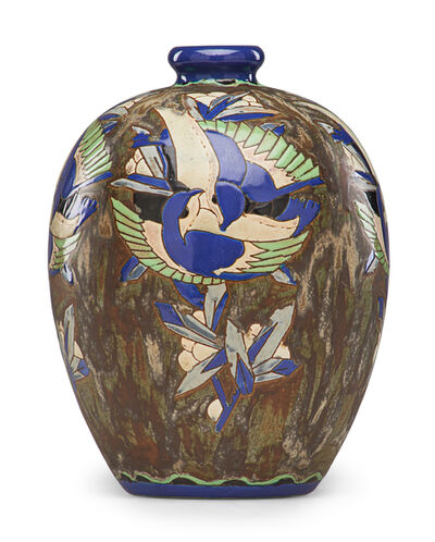 Charles Catteau, 'Art Deco Grès Keramis vase with stylized song birds'