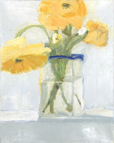 """Anne Harney, '""""Zinnias"""" impressionist style still life oil painting of yellow flowers in a clear vase', 2020"""