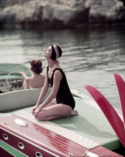Georges Dambier, 'Barbara et MHA sur le Riva Eden Roc Antibes (Riva Ski Nautique)', 1957
