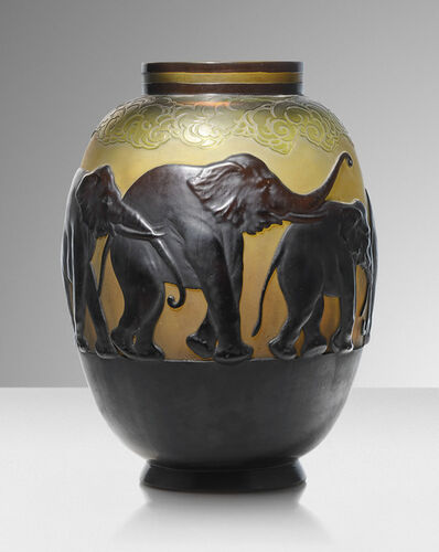 Galle, ''Vase aux éléphants', a mould blown vase', circa 1925