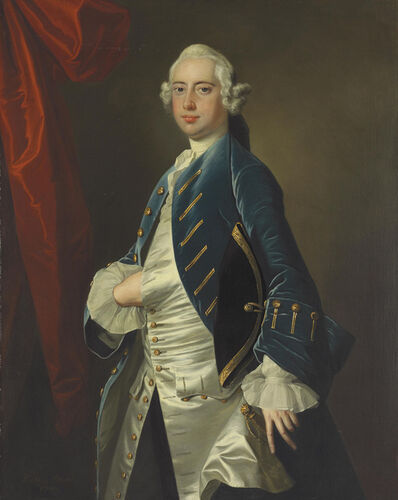 Thomas Hudson, 'Portrait of a gentleman, three-quarter-length', 1749