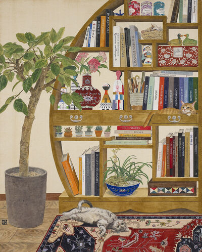 Lee Jung Eun (b. 1971), 'Cats and Bookshelf', 2020