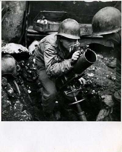 Robert Capa, 'American Soldier Mans a Mortar', 1940s-1962